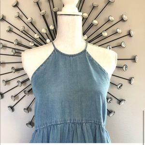 Kimchi Blue Dresses - Kimchi chambray halter mini dress
